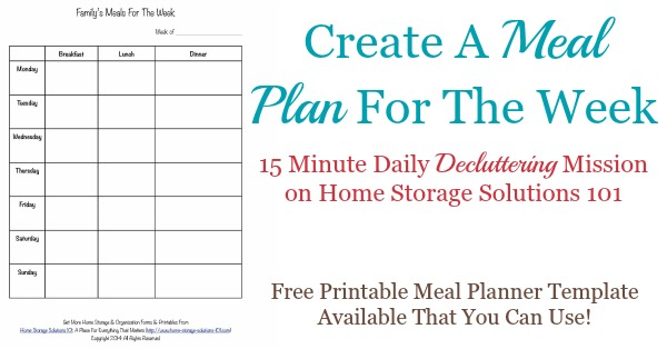 Printable Weekly Meal Planner Template - meal planning template