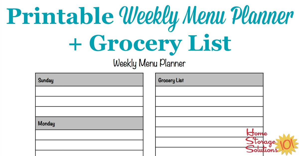 Printable Weekly Menu Planner Template Plus Grocery List - Printable Weekly Menu Planner With Grocery List