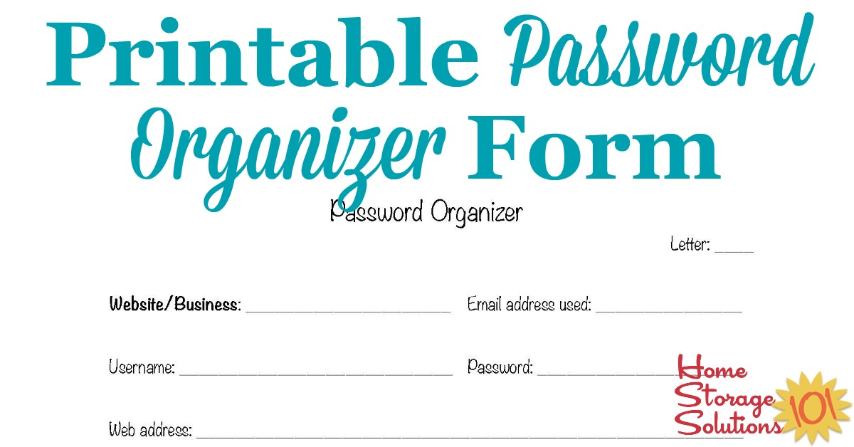Printable Password Organizer Form Find Your Passwords When Needed
