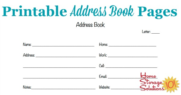 Free Printable Address Book Pages Get Your Contact Information