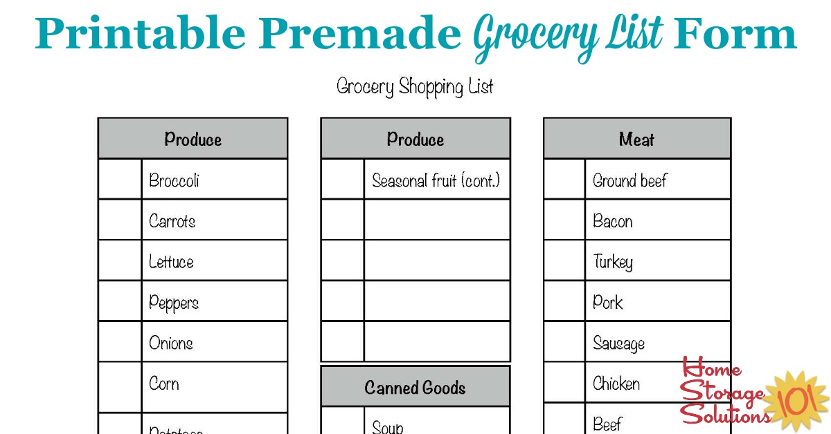 Free Printable Grocery List Form - printable grocery list template