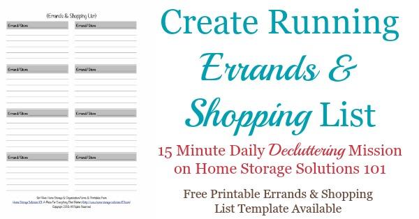 Printable Errands  Shopping List Template