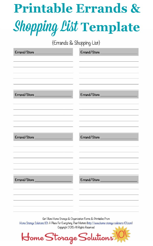 Printable Errands \ Shopping List Template - printable grocery list template