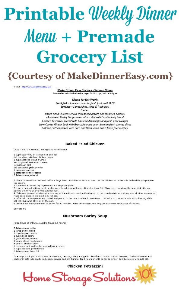 Printable Weekly Dinner Menu With Premade Grocery List Sample - weekly dinner meal plans