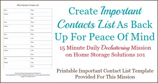 Free Printable Important Contact List Template - contacts list template