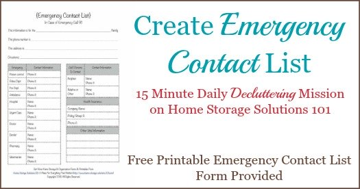 Free Printable Emergency Contact List Form - contact list