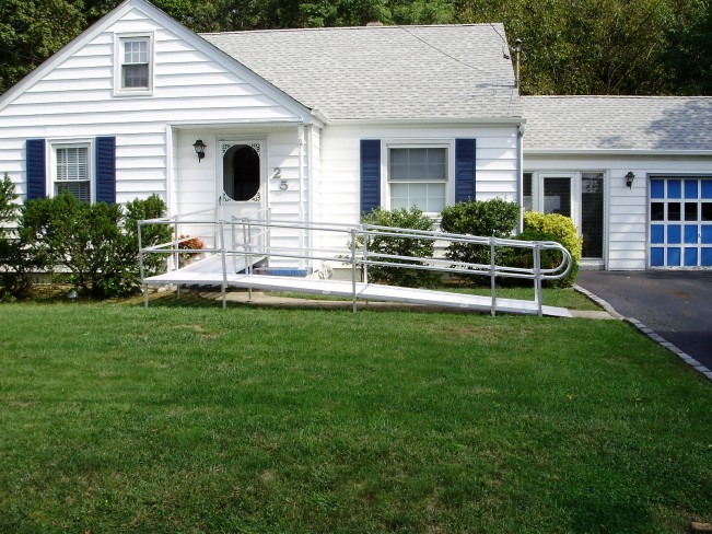 For wheelchair accessibility, this home had a ramp installed. It's a removable model, but more permanent designs are available.