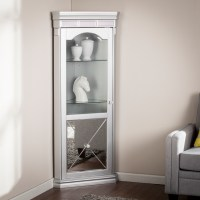 Mirage Mirrored Lighted Corner Curio Cabinet - Southern ...