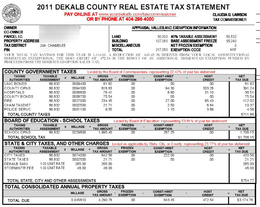 Chamblee DeKalb County Georgia Property Tax Calculator Millage   Sample  Property Assessment