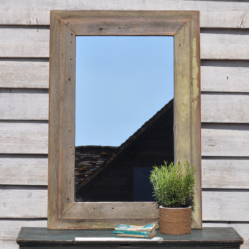 Weathered Architectural Salvage Frame Mirror Home Barn
