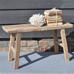 Reclaimed Small Rustic Trestle Bench in Solid Elm