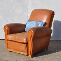 Antique French Leather Club Arm Chair - Loire - Home Barn ...