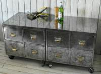 Pair of Vintage Industrial Steel Bedside Filing Cabinet ...