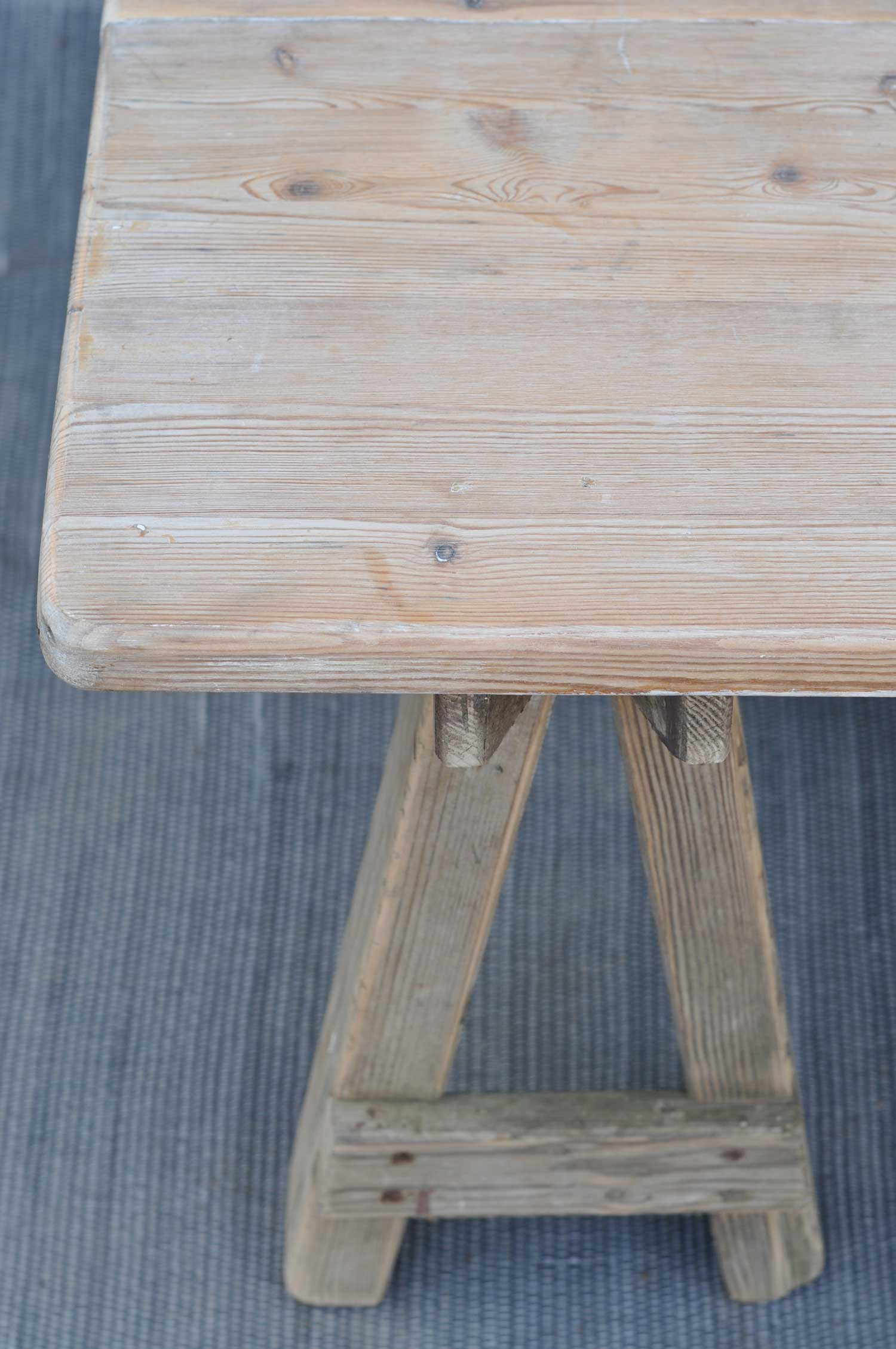 trestle salvaged wood dining table