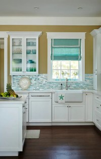 Beach House Kitchen with Turquoise Decor