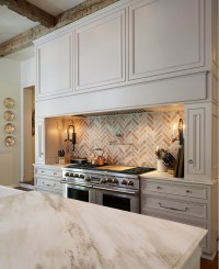 Traditional Off-White Kitchen with Brick Backsplash - Home ...