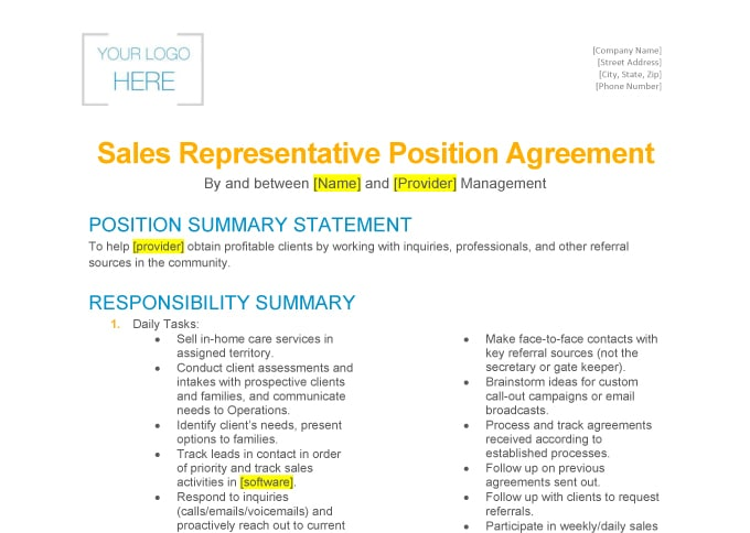 Home Care Sales Rep Sample Agreement Home Care Pulse - sample agreements