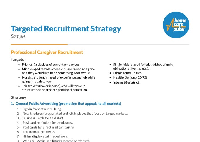 Sample Targeted Recruitment Strategy Home Care Pulse