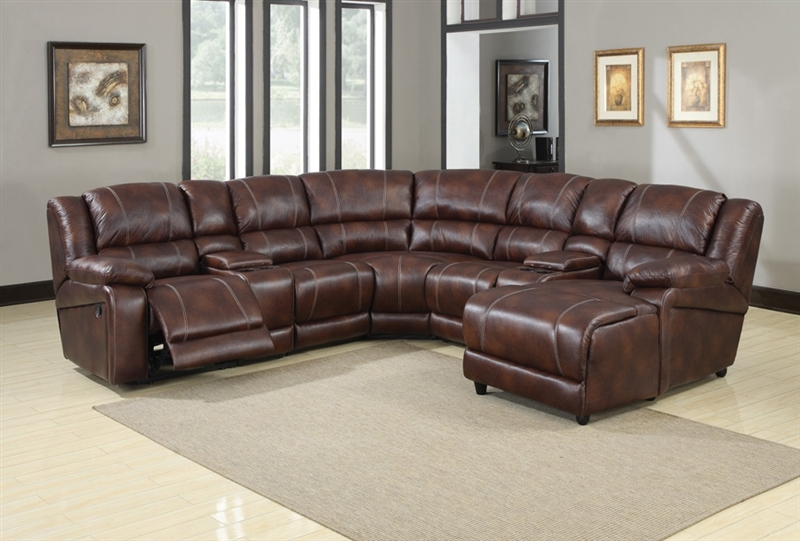 Zanthe Brown Polished Microfiber 7 Piece Reclining Sectional by - 7 piece living room set