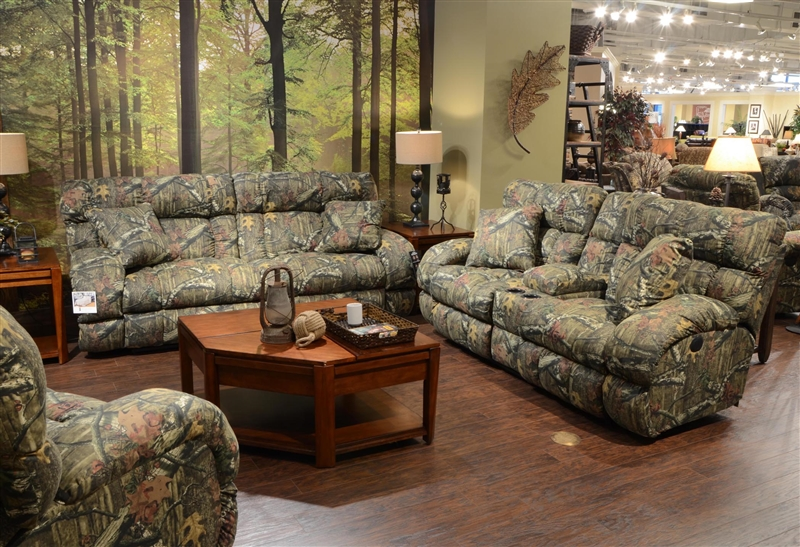 Appalachian Lay Flat Reclining Sofa in Mossy Oak or Realtree - camo living room furniture