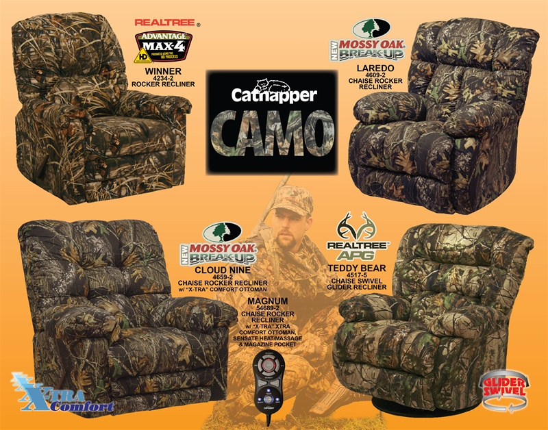 Magnum Heat\/Massage Mossy Oak Camouflage Chaise Rocker Recliner by - camo living room furniture