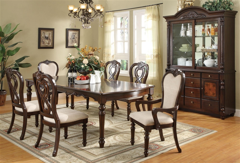 Linwood 7 Pc Formal Dining Table Set In Cherry Finish By