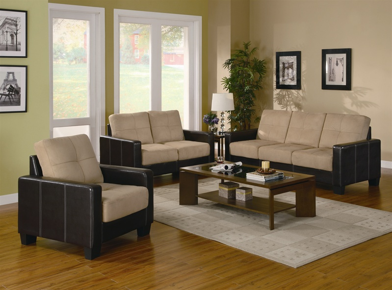 Regatta Khaki Microfiber\/Dark Brown Vinyl 3 Piece Living Room Set - 3 piece living room table set