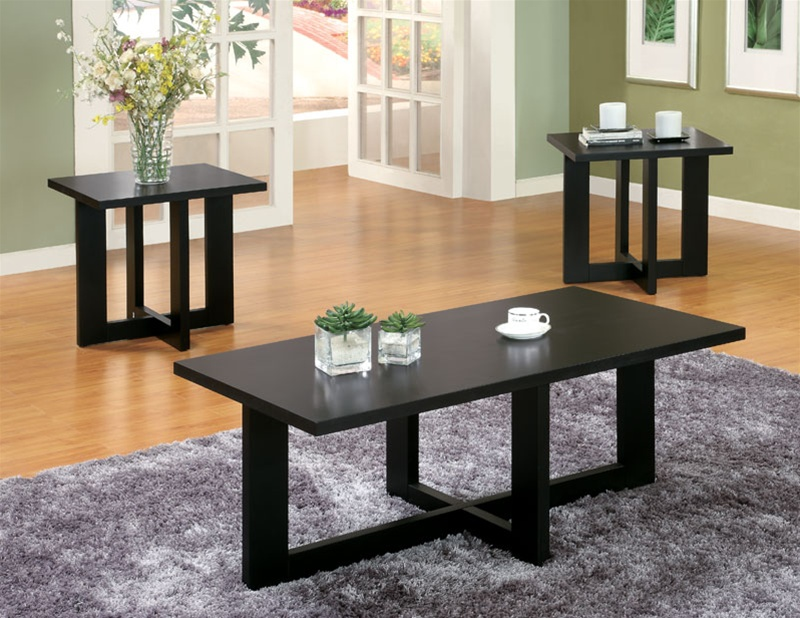 3 Piece Occasional Table Set in Black Finish by Coaster - 701503 - 3 piece living room table set