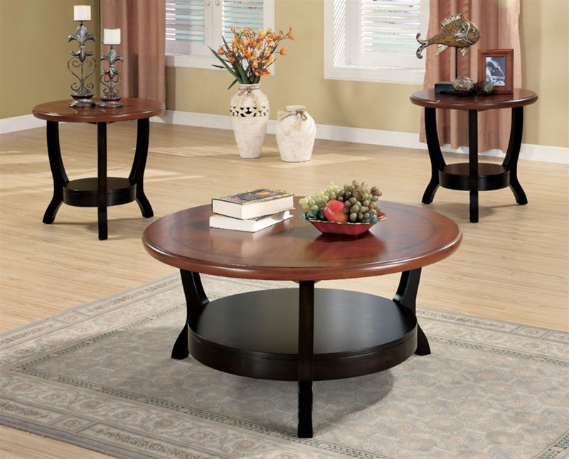 3 Piece Two Tone Occasional Table Set by Coaster - 701504 - 3 piece living room table set