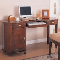 Home Office Kidney Shaped Computer Desk in Cherry Finish ...