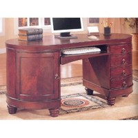 Home Office Kidney Shaped Computer Desk in Deep Brown ...
