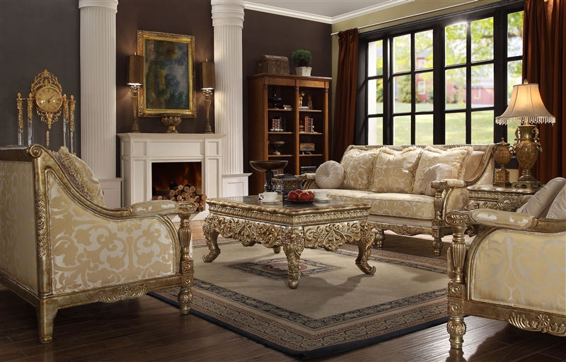 Victorian Wood Trim 2 Piece Living Room Set by Homey Design - HD-205 - 3 piece living room sets