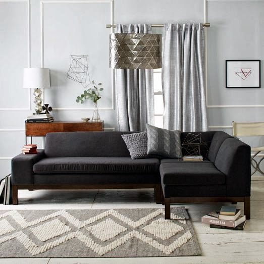 Modern Cozy Black Sectional Sofa