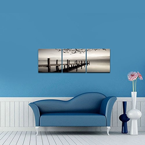Pyradecor Peace 3 panels Black and White Landscape Giclee Canvas - framed wall art for living room