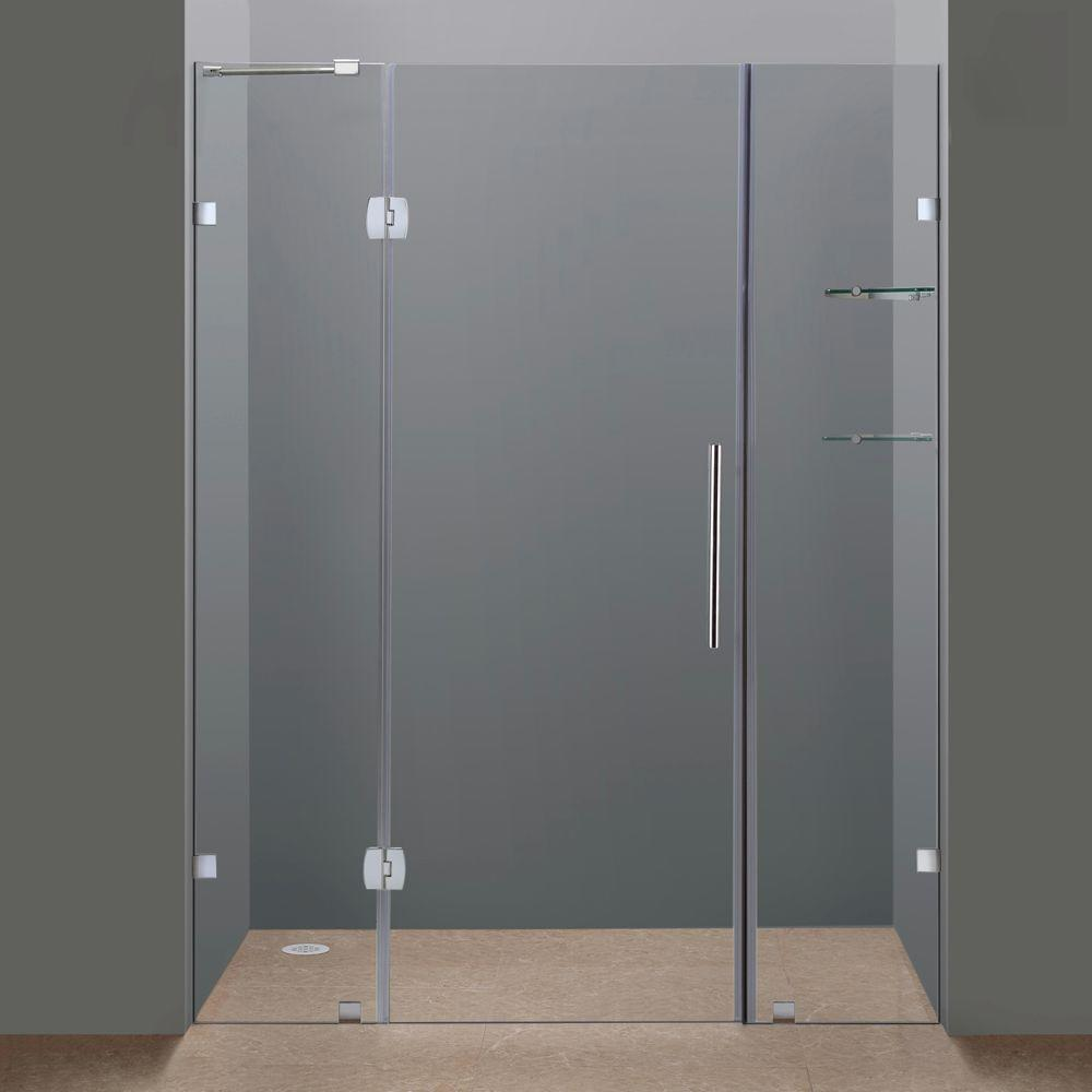 Completely frameless hinge shower door in chrome with glass shelves sdr983 ch 60 6 the home depot