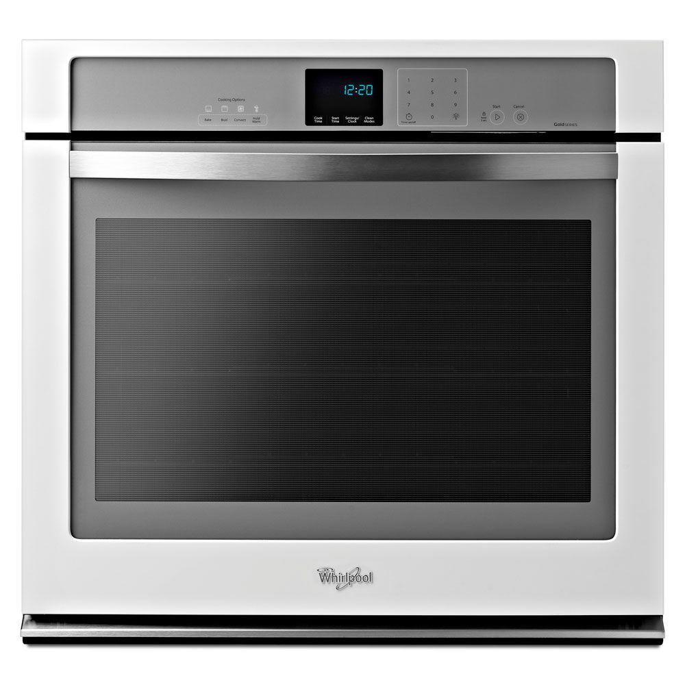 Single electric wall oven self cleaning with convection in white ice