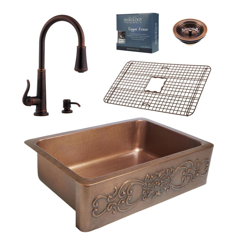 N farmhouse faucet kitchen Pfister All in One Ganku Copper Farmhouse 33 in Kitchen Sink Design Kit