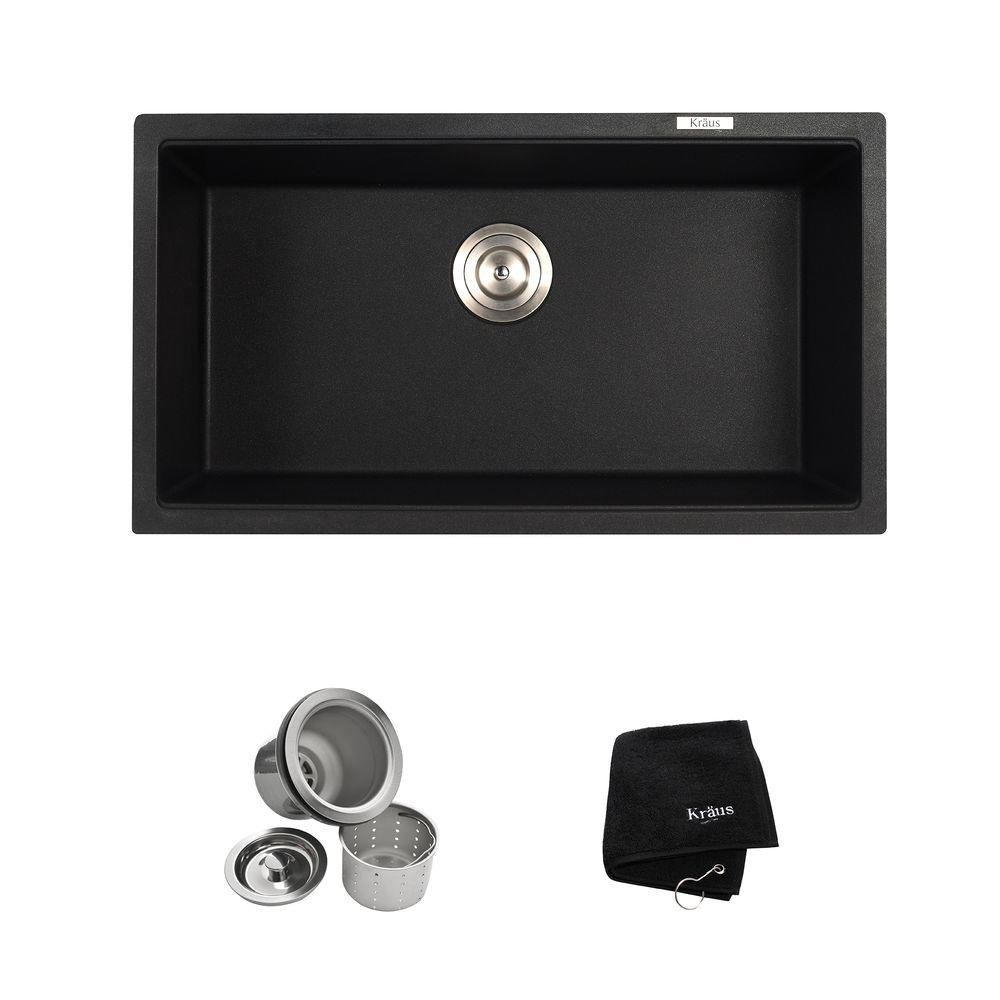 granite kitchen sinks Undermount Granite Composite 32 in Single Basin Kitchen Sink Kit in Black Onyx