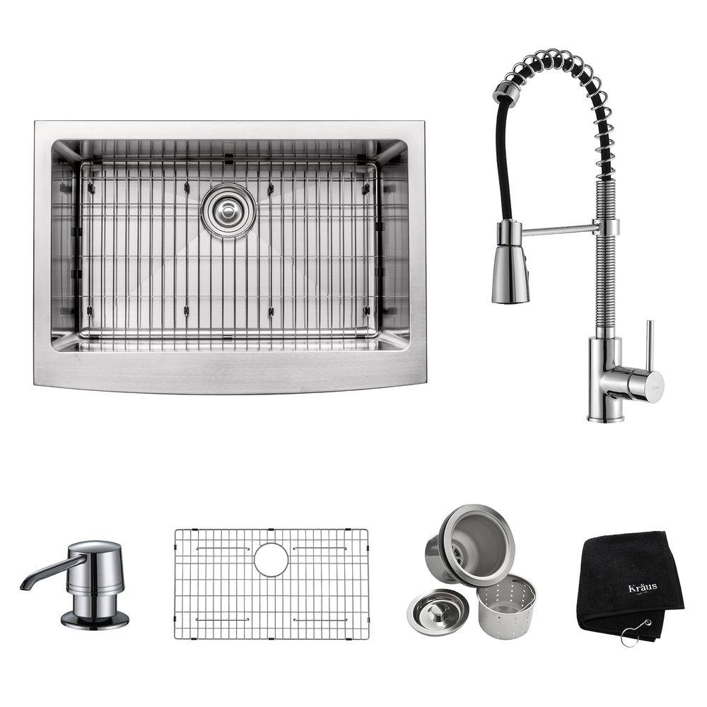 farmhouse faucet kitchen All in One Farmhouse Apron Front Stainless Steel 30 in Single Basin Kitchen