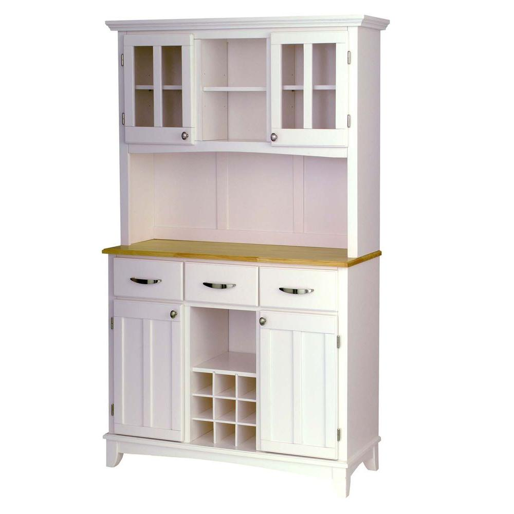 N kitchen buffet cabinet White and Natural Buffet with Hutch