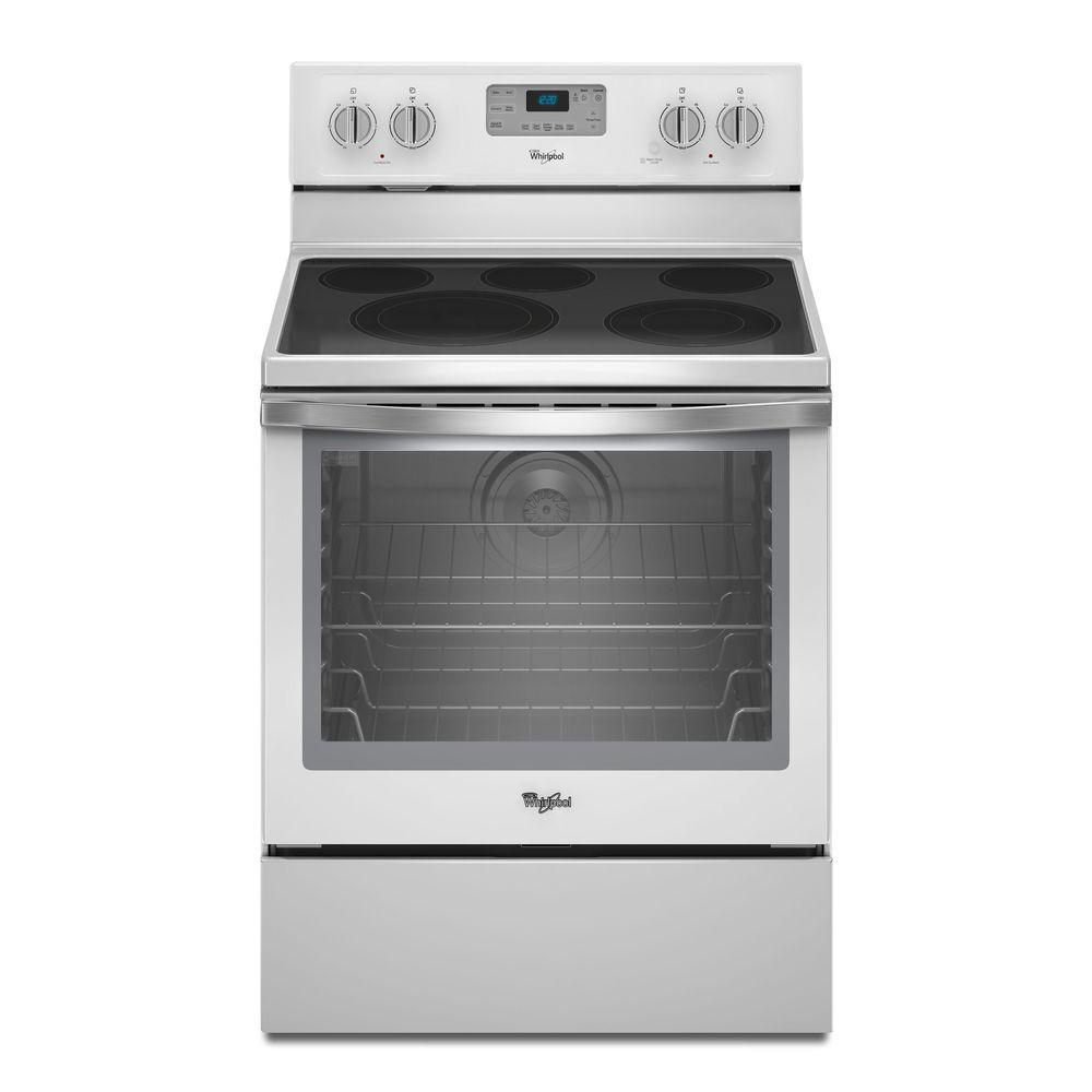 Electric range with self cleaning convection oven in white ice