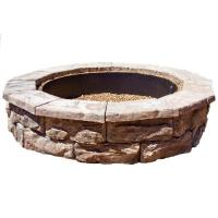 Fossill Stone 60 in. Concrete Brown Round Fire Pit Kit ...
