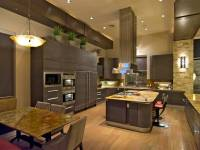 Contemporary kitchen with high ceilings, light wood floors ...
