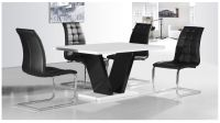 White & Black High Gloss Dining Table & 4 Chairs set ...