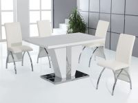 Full White high gloss dining table and 4 chairs set ...