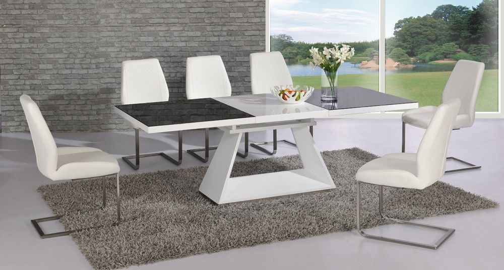 White High Gloss Extending Black Glass Dining Table And 8