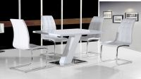 White high gloss dining table set and 4 chairs - Homegenies