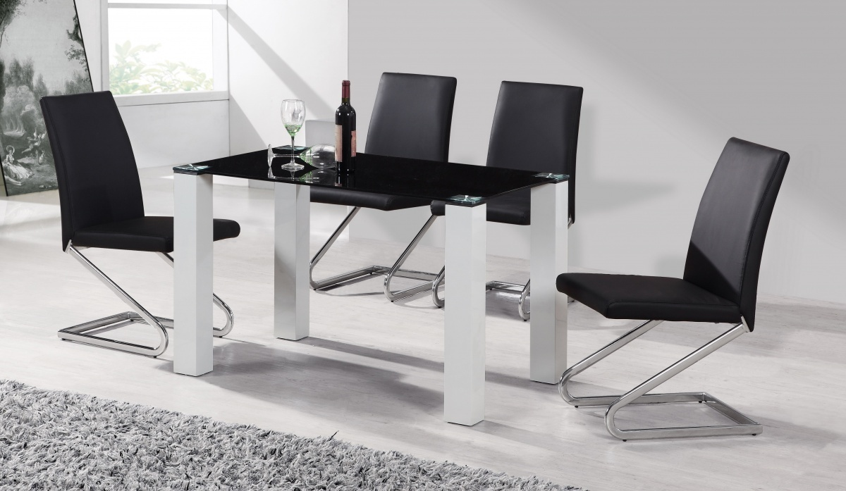 Black glass white high gloss dining table amp 4 chairs