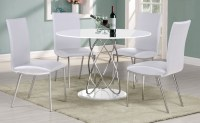 Full white high gloss round dining table & 4 chairs ...