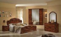 Italian high gloss walnut bedroom furniture set - Homegenies